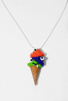 Monster Ice Cream Cone Necklaces-Polymer Clay Charm- Miniature Food-ice cream--Halloween-ice creamCharm