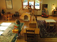 A small set of stairs can be an excellent chance for the nearly and newly walking kiddos to work on their large motor skills within the classroom.