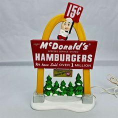 Dept 56 Snow Village McDonald's Light Up the Night Sign Arches Burgers #54925