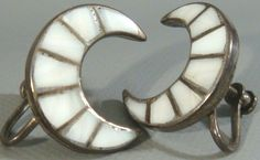 Antique 1950's ZUNI Old Pawn Sterling Silver & MOP Inlay CRESCENT MOON Earrings #ZuniOldPawn