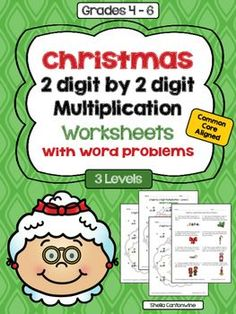 These Christmas themed worksheets cover 2 digit by 2 digit multiplication. These worksheets include 3 different levels PLUS and additional 4th worksheet with Christmas themed Multiplication Word Problems.  These worksheets are also part of a larger Christmas Multiplication Bundle.