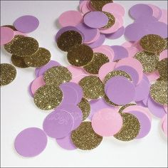 Girls Birthday Party Confetti In Lavender, Blush Pink, And Gold Glitter, Baby Shower Table Decoratio Sweet 16 Birthday, Gold Birthday, Unicorn Birthday Parties, 60th Birthday Party Decorations, Baby Shower Decorations, Birthday Ideas, Minnie Mouse Baby Shower, Minnie Mouse Party, Glitter Party