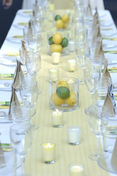 lemon and lime green and white and yellow wedding centerpieces table setting ideas Young House Love Wedding Edible Wedding Centerpieces, Lime Centerpiece, Non Floral Centerpieces, Wedding Table Centerpieces, Wedding Decorations, Centerpiece Flowers, Lemon Centerpieces, Flowerless Centerpieces, Centerpiece Ideas