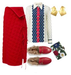 """""""Red"""" by liza-k-1 on Polyvore featuring Gucci and Oscar de la Renta"""