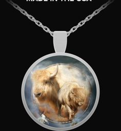 Spirit Of The White Buffalo Dreamcatcher design in a lovely round sterling silver pendant necklace, featuring the art of Carol Cavalaris. Silver Pendant Necklace, Ring Necklace, Sterling Silver Pendants, Dreamcatcher Design, Dream Catcher Art, Art Necklaces, Round Pendant, Wearable Art, Buffalo