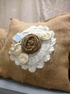 Burlap+Flower+Pillow   Burlap pillow with crochet doiley ...   RePurposed goods; ideas we lo ...
