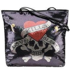 96b35aa062 ED HARDY Christian Audigier Womens Tattoo Love Kills Slowly Sequins Tote  Handbag Purse
