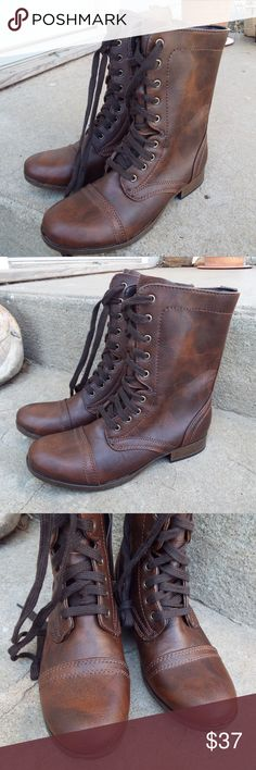 a91ffe070ac5 CANDIES CANASH BROWN MILITARY CAP TOE COMBAT BOOTS Style  Military  Material  Synthetic Color  · Combat Boots StyleMoto BootsMilitary CapLace Up  Heels