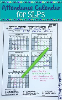 SLP Attendance Form for FREE attendance calendar for SLPs - 2018 to 2019 by Natalie Snyders.FREE attendance calendar for SLPs - 2018 to 2019 by Natalie Snyders. Speech Language Therapy, Speech Language Pathology, Speech And Language, Speech Therapy Organization, Classroom Organization, Speech Therapy Activities, Articulation Activities, Language Activities, Speech Room