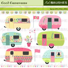 A pretty pastel set of retro vintage, caravans, flags and bunting.
