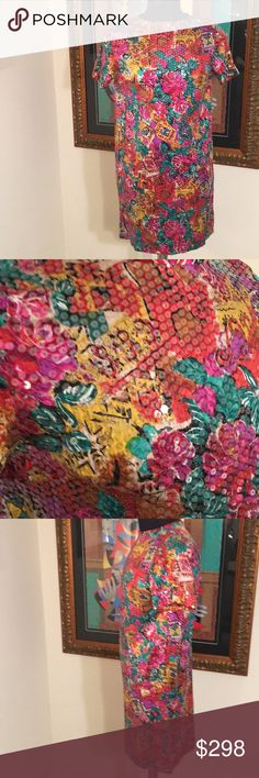 ⭐️HENRI BENDEL SEQUIN COUTURE DRESS 💯AUTHENTIC ❤️HENRI BENDEL SEQUIN COUTURE DRESS 💯AUTHENTIC . STUNNING AND STYLISH TOTALLY ON TREND! TRUE SUPER HIGH END LUXURY AND STYLE! IMTHIS IS A FLOWY AND LIGHTWEIGHT DRESS. IT HAS A REAR ZIPPER. IT IS BRIGHT MULTICOLORED FLORAL. IT IS COATED IN BEAUTIFUL CLEAR SEQUINS. THE SIZE IS LARGE. THE BUST MEASUREMENT IS 20 INCHES ACROSS AND 40 INCHES AROUND. THE HIP MEASUREMENT IS 20 INCHES ACROSS AND 40 INCHES AROUND. THE LENGTH IS 35 INCHES. henri bendel…