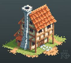 Isometric medieval / fantasy pixel house by RGBfumes building location…
