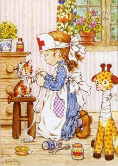 Holly Hobbie and Sarah Kay ruled in the late and early Diaries, stationary.even clothing got influenced by them. Sarah Key, Holly Hobbie, Mary May, Illustrations Vintage, Crazy Cat Lady, Vintage Cards, Vintage Children, Cute Art, Paper Dolls
