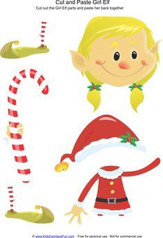 Cut and Paste Christmas Girl Elf Activity http://www.kidscanhavefun.com/christmas-school-activities.htm #cutpaste #christmasactivitiesforkids