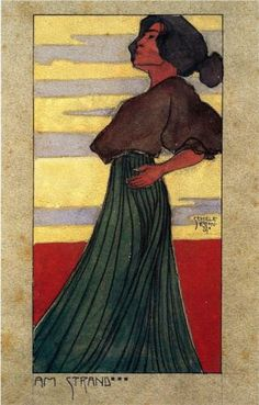 On the Beach, Moonlight - Egon. Schiele. 1907. Watercolour, 20.4 x 11.38 cm