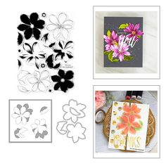 Layered Flowers Leaves DIY Floral Clear Stamps for Card Making Decoration and DIY Scrapbooking