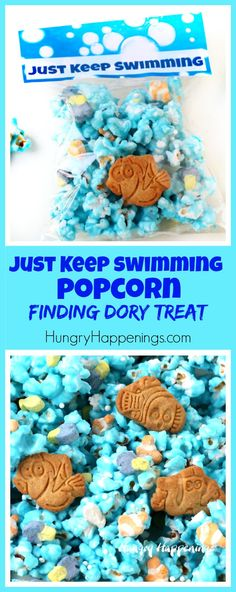 """Package up some fun Finding Dory Treats to use as party favors. These """"Just Keep Swimming Popcorn"""" bags are perfect party treats."""