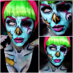Different angles of Pop-art Zombie! Amazing Halloween Makeup, Halloween Inspo, Halloween Looks, Halloween Horror, Halloween Cosplay, Happy Halloween, Halloween Costumes, Zombie Makeup, Scary Makeup