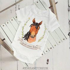 Horse baby bodysuit  personalised bodysuit watercolour