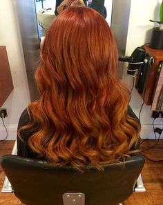 Auburn to orange fade curly ombre hair