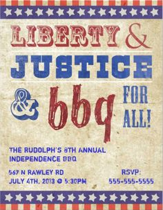 Liberty justice and BBQ for all #4th_of_July party #invitations.