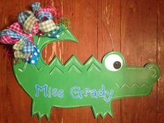 Alligator teacher door hanger Teacher Door Hangers, Teacher Doors, Classroom Door Signs, Classroom Themes, Crocodile Craft, Swamp Theme, Teacher Name Signs, Wood Animal, School Signs