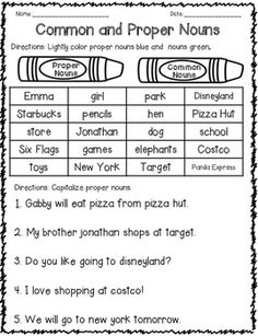 Circle map for common nouns and proper nouns. The circle maps can be used in many ways. Circle maps can be used to introduce the lesson or have students create their own list of common nouns/proper nouns.