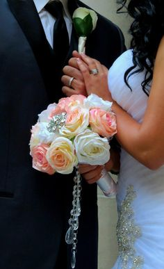Blush Bridal Bouquet with Brooch and Hanging by AngelicasBridal, $230.00