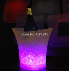5L Volume de plástico balde de gelo LED cor mudar 5L bares discotecas LED light up de gelo balde de champanhe vinho cerveja balde de gelo bares alishoppbrasil