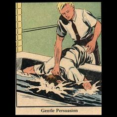 All you need is a little gentle persuasion... #vintagecomics #weirdcomics #gentlepersuasion by somevelvetmorningx