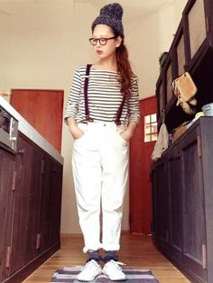 id:mamecome1226 White Outfits, Striped Outfits, White Jeans, Hipster, Denim, Lady, Street Fashion, Womens Fashion, Pants