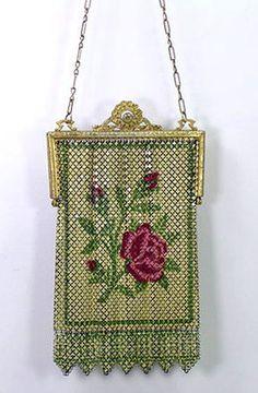 Antique Mandalian Whiting & Davis Elsah Enamel Mesh Purse Flapper Bag Rose 1920s