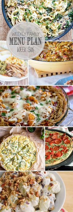 The meals you need for the week, planned out for you! Including Spinach and Mushroom Pappardelle Pasta, Slow Cooker Apple Cider Braised Pork, Chipotle Pasta Skillet, Chicken Parmesan Spaghetti Pie, Pepperoni Florentine Pizza, Crustless Corn and Zucchini Quiche and Grape Salad.