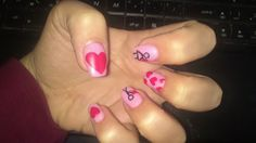 love heart pink nails