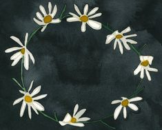 This black and white watercolor painting puts a sophisticated spin on the simple daisy chain.  The title of this piece is also a nod to one of Emily's favorite Fleetwood Mac songs.