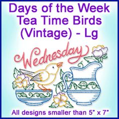Machine Embroidery Designs at Embroidery Library! - Days of the Week