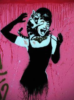 Eelus: Audrey Hepburn with Face Scratching Tom Cat Graffit…   Flickr