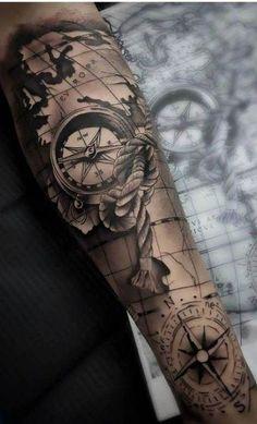 Jorge Jorge - Tattoo innenarm - # tattoo designs ideas männer männer ideen old school quotes sketches Nautical Tattoo Sleeve, Forearm Sleeve Tattoos, Tattoo Sleeve Designs, Nautical Tattoos, Pirate Map Tattoo Sleeve, Pirate Compass Tattoo, Compass And Map Tattoo, Tattoo Sleeves, Forarm Tattoos