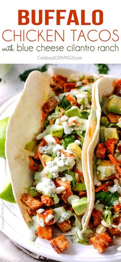 Buffalo Chicken Tacos stuffed with the most incredible marinated Buffalo Chicken and drizzled with to-live-for Blue Cheese Cilantro Ranch are ridiculously delicious! A crowd pleaser every time!