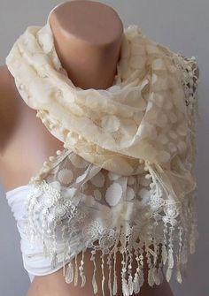 beige   elegance  shawl / scarf with lacy edge by womann on etsy, $19.90