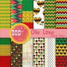 Rasta digital paper Rasta patterns for your reggae party by GemmedSnail, $4.80