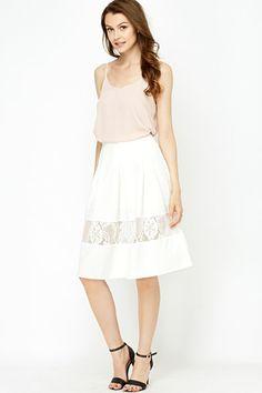 Lace Insert Skater Skirt