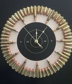 Bullet Clock on Target with Inert Ammo. Great gift for shooters, hunters, military, man cave, gun gift Bullet Clock on Target with Inert Ammo. Great gift for