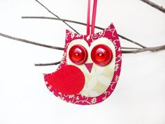Christmas Owl decoration - red & gold  Could be on our tree this year