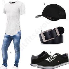 Herren-Outfit mit weißem Hemoon Shirt, schwarzem Flexfit Cap, schwarzem Ledergürtel, Leif Nelson Jeans und Tommy Hilfiger Sneakern.  #outfit #style #fashion #menswear #mensfashion #inspiration #shirts #weste #cloth #clothing #männermode #herrenmode #shirt #mode #styling #sneaker