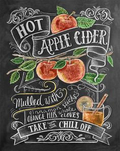 Perfect Gift Fall Chalkboard Print- Hot Apple Cider,Fall Kitchen, Autumn Print Decor, Chalkboard Illustration,Gift for Housewarming Chalkboard Lettering, Chalkboard Designs, Chalkboard Ideas, Fall Chalkboard Art, Blackboard Menu, Chalkboard Sayings, Chalkboard Writing, Kitchen Chalkboard, Chalkboard Paint