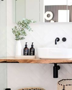 All white, natural edge wood counter bathroom - WiggleButz - Welcome to the World of Decor! Modern Master Bathroom, Boho Bathroom, Minimalist Bathroom, Diy Bathroom Decor, Bathroom Styling, Bathroom Interior Design, White Bathroom, Small Bathroom, Bathroom Inspo