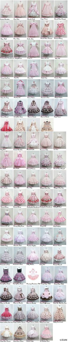 Angelic Pretty dresses and their names Gothic Lolita Sweet Lolita Harajuku Fashion, Kawaii Fashion, Lolita Fashion, Cute Fashion, Rock Fashion, Kawaii Clothes, Doll Clothes, Mode Lolita, Lolita Style