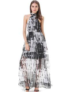 maxi robe style sensuel -Noir ivoire  15.52