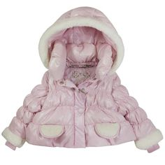 Girls will look like a snow Princess in our latest luxurious down coat. Cut as a shorter jacket with fully detachable sleeves and hood. Cute faux fur trim on the hood, cuffs and pockets.